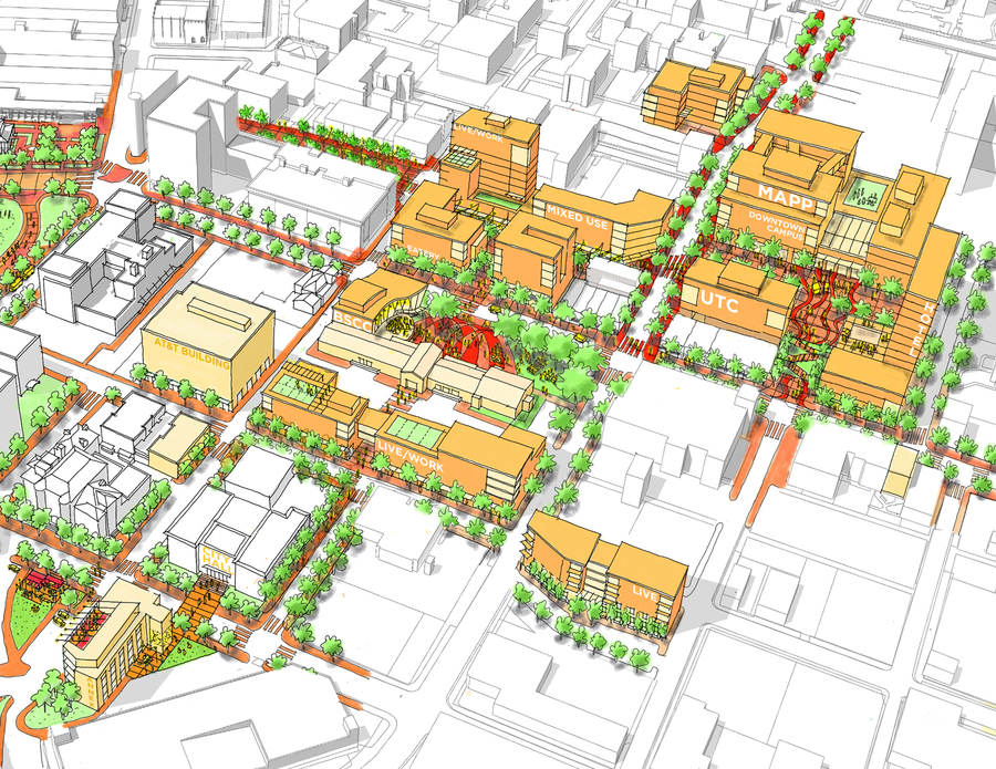 3D rendering of the Innovation District showing the various areas impacted by the downtown campus section of the framework