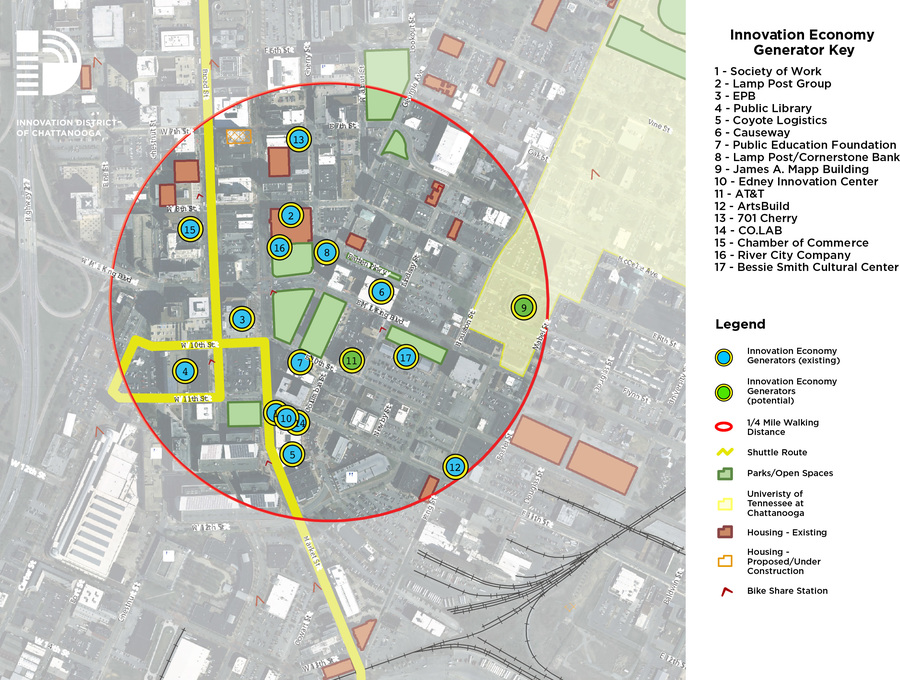 A map showing the location and names of 17 economic generators in the Innovation District